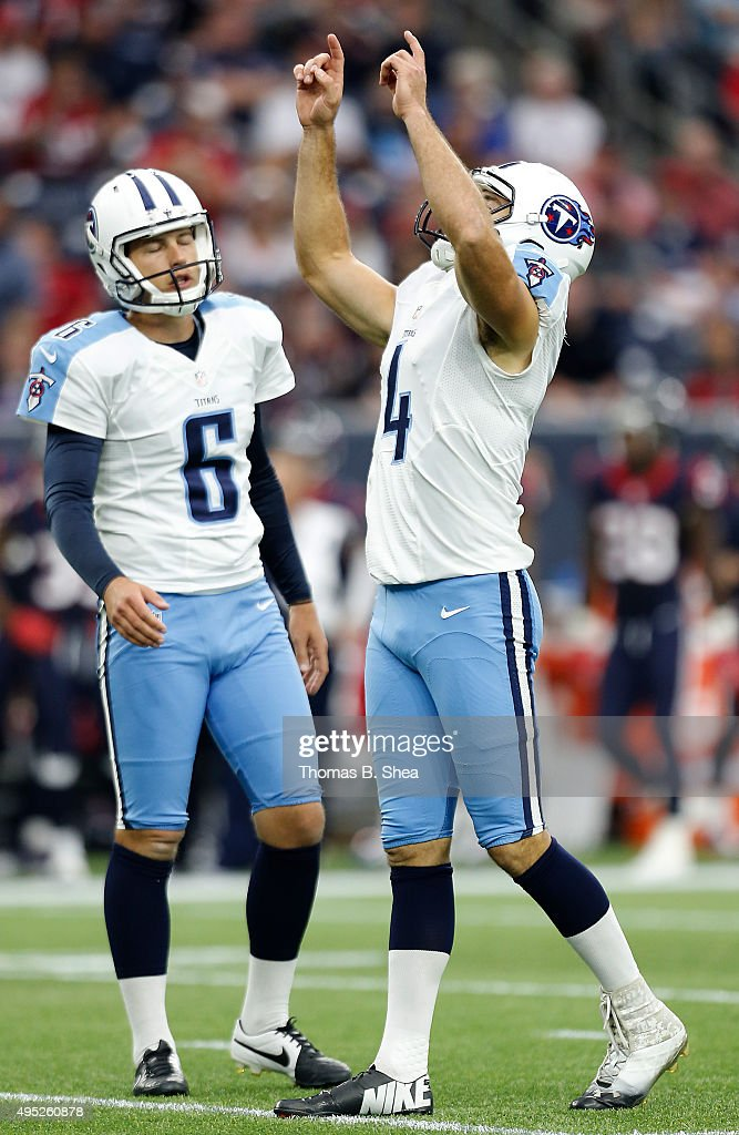 Ryan Succop #4 of the Tennessee Titans reacts after making a 35 yard field goal against the Houston Texans in the first quarter on November 1, 2015 at NRG Stadium in Houston, Texas.