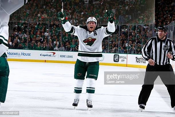 Ryan Suter of the Minnesota Wild celebrate a goal against the Dallas Stars in Game Five of the Western Conference First Round during the 2016 NHL...