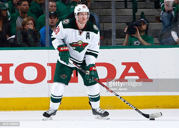 Ryan Suter of the Minnesota Wild handles the puck against the Dallas Stars in Game Five of the Western Conference First Round during the 2016 NHL...