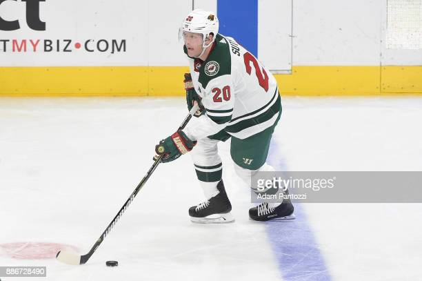 Ryan Suter of the Minnesota Wild handles the puck during a game against the Los Angeles Kings at STAPLES Center on December 5 2017 in Los Angeles...