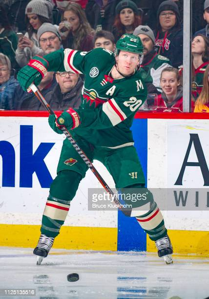 Ryan Suter of the Minnesota Wild makes a pass during a game with the Columbus Blue Jackets at Xcel Energy Center on January 19 2019 in St Paul...