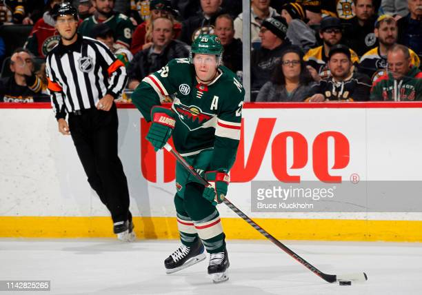 Ryan Suter of the Minnesota Wild makes a pass during a game with the Boston Bruins at Xcel Energy Center on April 4 2019 in St Paul Minnesota