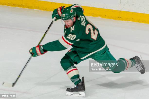 Ryan Suter of the Minnesota Wild shoots the puck against the Colorado Avalanche during the game at the Xcel Energy Center on March 13 2018 in St Paul...