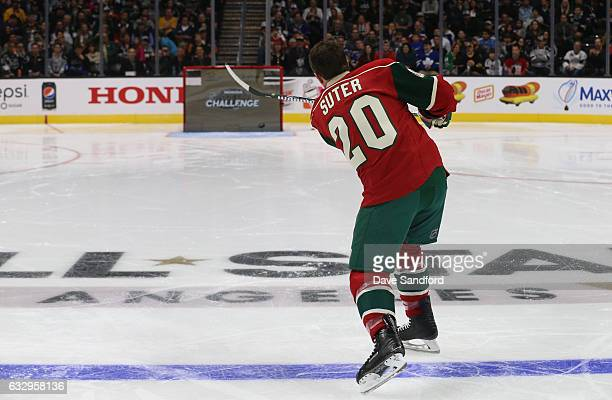 Ryan Suter of the Minnesota Wild shoots the puck during the Honda NHL Four Line Challenge as part of the 2017 Coors Light NHL AllStar Skills...
