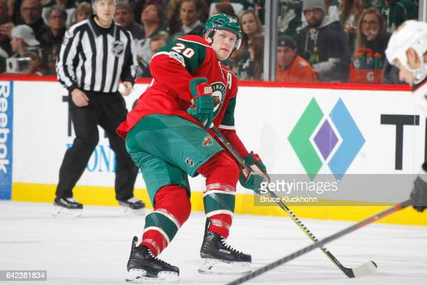 Ryan Suter of the Minnesota Wild skates against the Anaheim Ducks during the game on February 14 2017 at the Xcel Energy Center in St Paul Minnesota