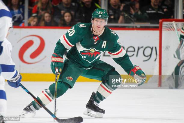 Ryan Suter of the Minnesota Wild skates against the Tampa Bay Lightning during the game at the Xcel Energy Center on January 20 2018 in St Paul...