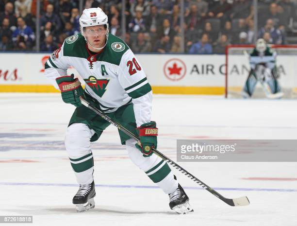 Ryan Suter of the Minnesota Wild skates against the Toronto Maple Leafs during an NHL game at the Air Canada Centre on November 8 2017 in Toronto...