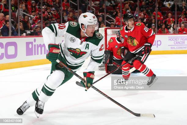 Ryan Suter of the Minnesota Wild skates in the third period against the Chicago Blackhawks at the United Center on November 18 2018 in Chicago...
