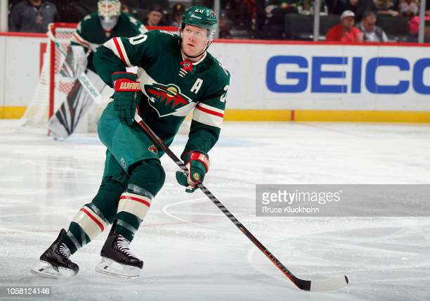 Ryan Suter of the Minnesota Wild skates up ice during a game between the Minnesota Wild and Arizona Coyotes at Xcel Energy Center on October 16 2018...