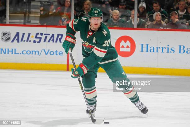 Ryan Suter of the Minnesota Wild skates with the puck against the Nashville Predators during the game at the Xcel Energy Center on December 29 2017...