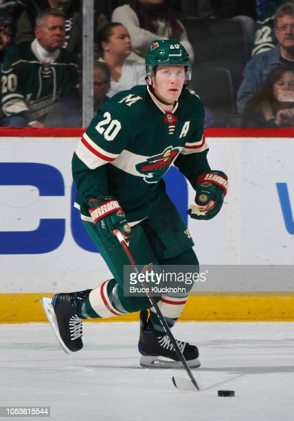 Ryan Suter of the Minnesota Wild skates with the puck during a game between the Minnesota Wild and Los Angeles Kings at Xcel Energy Center on October...
