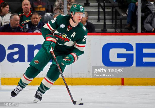 Ryan Suter of the Minnesota Wild skates with the puck during a game with the Winnipeg Jets at Xcel Energy Center on April 2 2019 in St Paul Minnesota