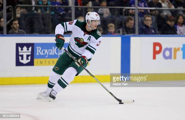 Ryan Suter of the Minnesota Wild skates with the puck in the second period against the New York Rangers during their game at Madison Square Garden on...