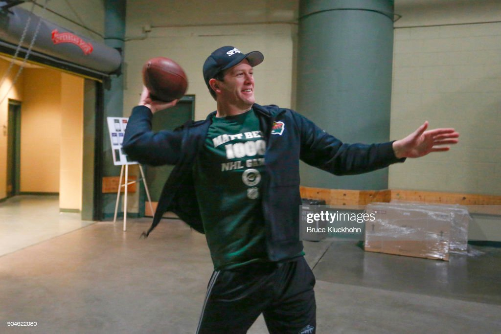 Ryan Suter #20 of the Minnesota Wild throws a football with teammates prior to the game against the Winnipeg Jets at the Xcel Energy Center on January 13, 2018 in St. Paul, Minnesota.