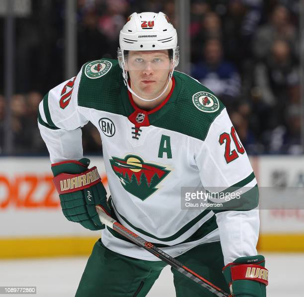 Ryan Suter of the Minnesota Wild waits for a faceoff against the Toronto Maple Leafs during the Next Generation NHL game at Scotiabank Arena on...