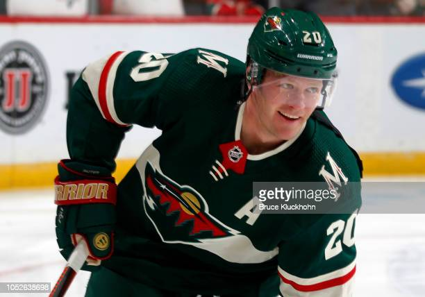 Ryan Suter of the Minnesota Wild warms up before a game between the Minnesota Wild and Tampa Bay Lightning at Xcel Energy Center on October 20 2018...
