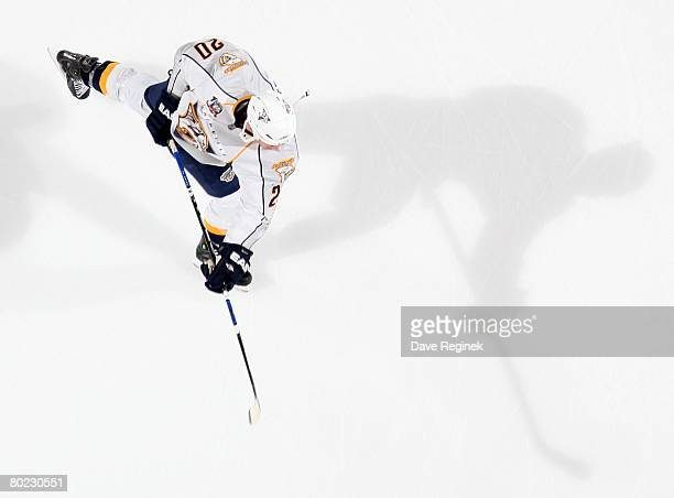 Ryan Suter of the Nashville Predators takes a shot in warm ups before a NHL game against the Detroit Red Wings on March 9 2008 at Joe Louis Arena in...