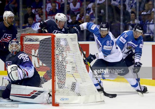 Ryan Suter of United States challenges Harri Pesonen of Finland during the 2019 IIHF Ice Hockey World Championship Slovakia group A game between...