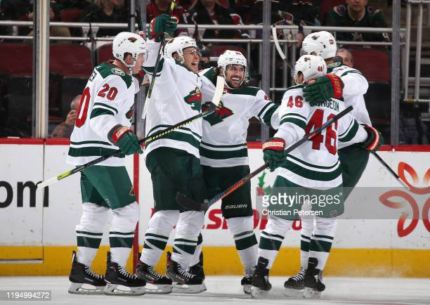 Ryan Suter Zach Parise Mats Zuccarello Jared Spurgeon and Eric Staal of the Minnesota Wild celebrate after Zuccarello scored a goal against the...