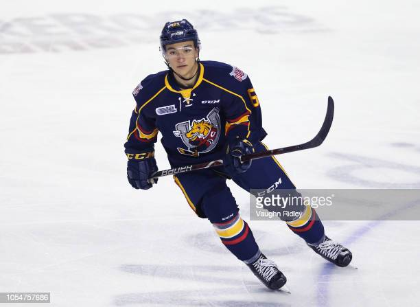 Ryan Suzuki of the Barrie Colts skates during an OHL game against the Niagara IceDogs at Meridian Centre on October 11, 2018 in St Catharines, Canada.