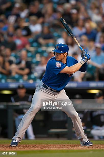 Ryan Sweeney of the Chicago Cubs bats against the Colorado Rockies in the fifth inning of a game against the Colorado Rockies at Coors Field on...