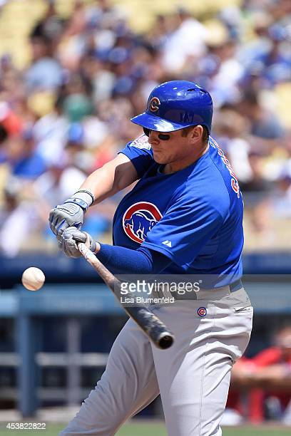 Ryan Sweeney of the Chicago Cubs bats against the Los Angeles Dodgers at Dodger Stadium on August 3 2014 in Los Angeles California