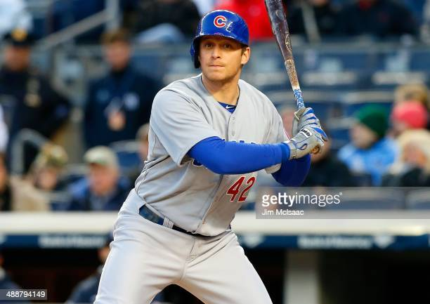 Ryan Sweeney of the Chicago Cubs in action against the New York Yankees during game two of a doubleheader at Yankee Stadium on April 16 2014 in the...