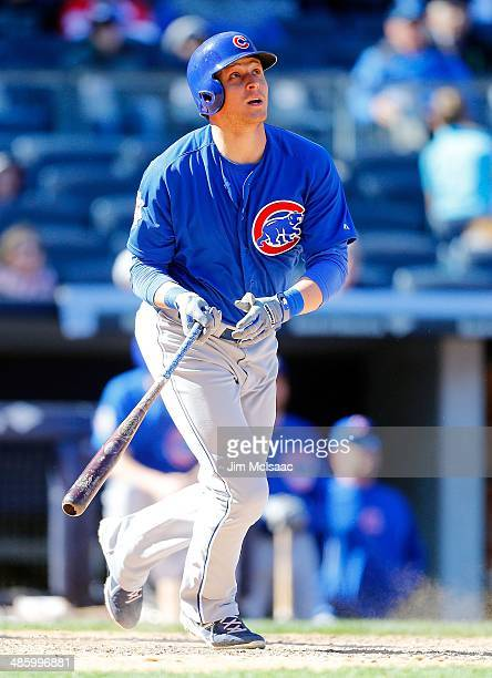 Ryan Sweeney of the Chicago Cubs in action against the New York Yankees during the first game of a doubleheader at Yankee Stadium on April 16 2014 in...