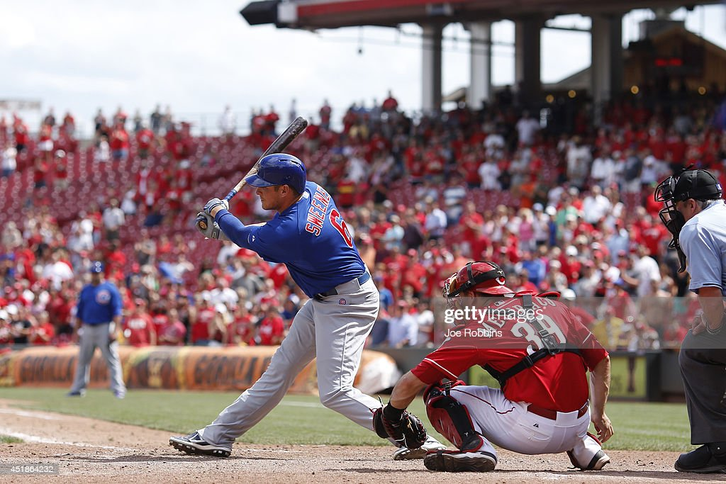 Ryan Sweeney #6 of the Chicago Cubs strikes out in the ninth inning to end the game against the Cincinnati Reds at Great American Ball Park on July 8, 2014 in Cincinnati, Ohio. The Reds won 4-2.