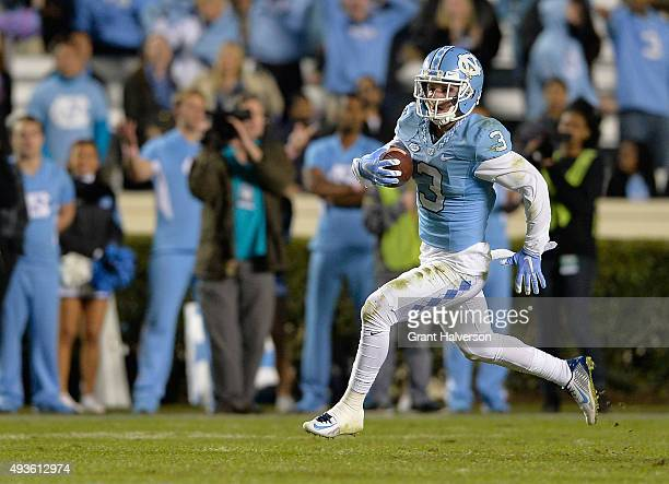 Ryan Switzer of the North Carolina Tar Heels returns a punt against the Wake Forest Demon Deacons during their game at Kenan Stadium on October 17...