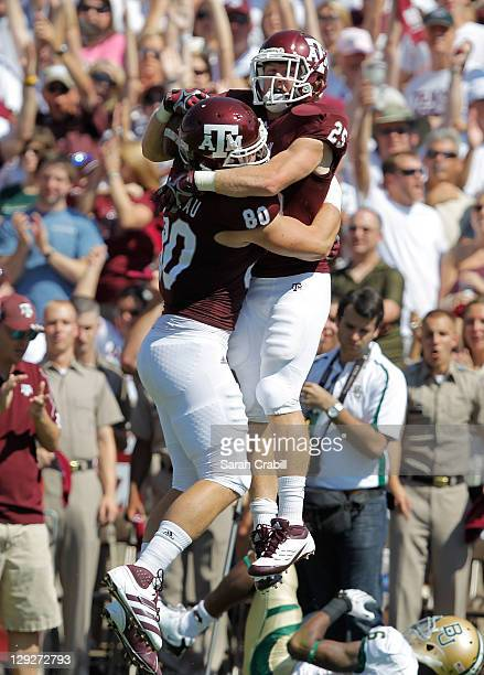 Ryan Swope of the Texas A&M Aggies celebrates after a touchdown during a game against the Baylor Bears at Kyle Field on October 15, 2011 in College...