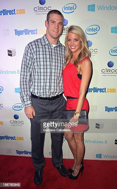 Ryan Tannehill and Lauren Tannehill attends TigerDirectcom And Intel's Holiday Tech Bash on November 20 2012 in Miami Florida