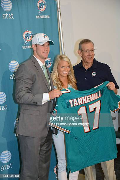 Ryan Tannehill Lauren Tannehill and Chairman of the Board/Managing General Partner Stephen M Ross pose at a press conference at the Miami Dolphins...