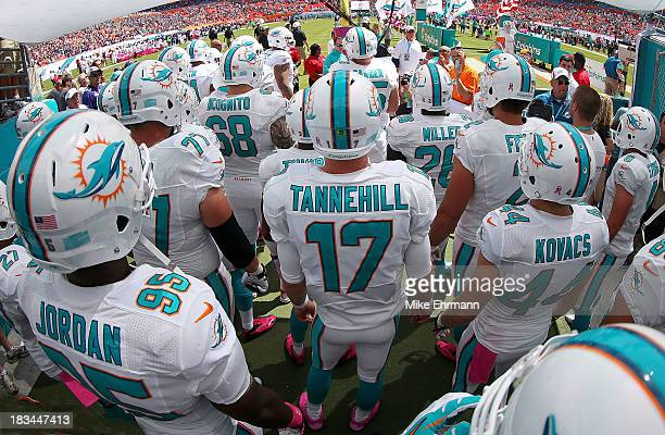 Ryan Tannehill of the Miami Dolphins gets ready to take the field during a game against the Baltimore Ravens at Sun Life Stadium on October 6 2013 in...