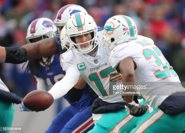 Ryan Tannehill of the Miami Dolphins hands the ball off to Kenyan Drake in the second quarter during NFL game action against the Buffalo Bills at New...