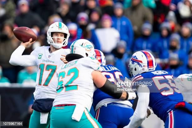 Ryan Tannehill of the Miami Dolphins passes the ball during the second half against the Buffalo Bills at New Era Field on December 30 2018 in Orchard...