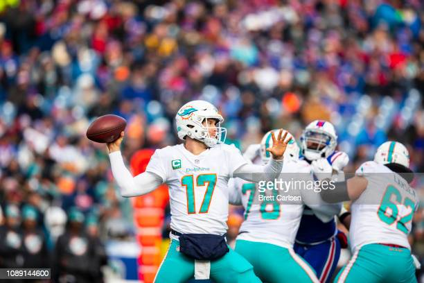 Ryan Tannehill of the Miami Dolphins passes the ball during the second quarter against the Buffalo Bills at New Era Field on December 30 2018 in...