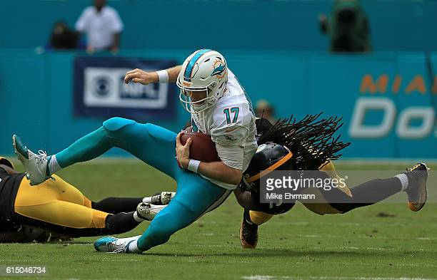Ryan Tannehill of the Miami Dolphins scrambles during a game against the Pittsburgh Steelers on October 16 2016 in Miami Gardens Florida