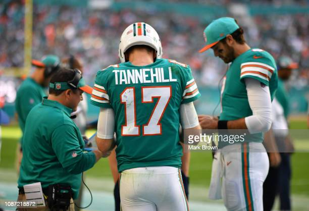 Ryan Tannehill of the Miami Dolphins speaks with Dowell Loggains and Brock Osweiler during the game against the Jacksonville Jaguars at Hard Rock...