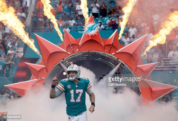 Ryan Tannehill of the Miami Dolphins takes the field prior to the game against the New England Patriots at Hard Rock Stadium on December 9 2018 in...