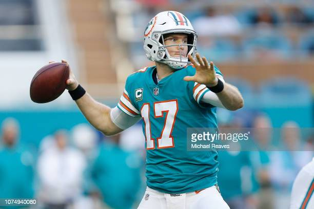 Ryan Tannehill of the Miami Dolphins throws a pass against the Jacksonville Jaguars at Hard Rock Stadium on December 23 2018 in Miami Florida