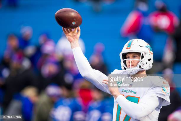Ryan Tannehill of the Miami Dolphins warms up before the game against the Buffalo Bills at New Era Field on December 30 2018 in Orchard Park New York