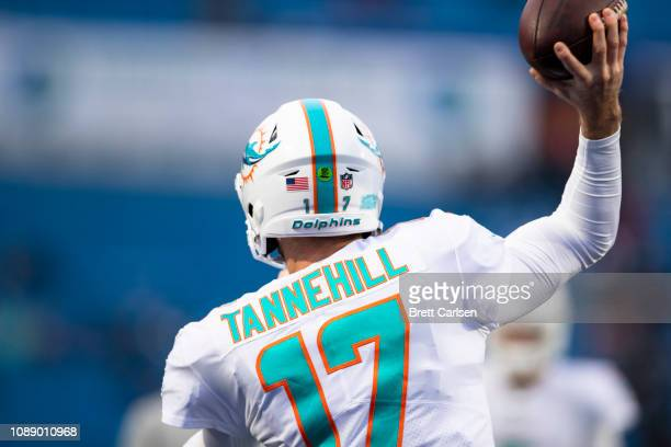 Ryan Tannehill of the Miami Dolphins warms up before the game against the Buffalo Bills at New Era Field on December 30 2018 in Orchard Park New York...