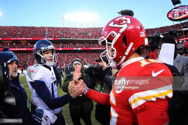 Ryan Tannehill of the Tennessee Titans and Patrick Mahomes of the Kansas City Chiefs shake hands after the AFC Championship Game at Arrowhead Stadium...
