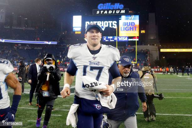 Ryan Tannehill of the Tennessee Titans celebrates their 2013 win over the New England Patriots in the AFC Wild Card Playoff game at Gillette Stadium...