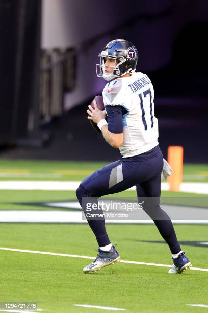 Ryan Tannehill of the Tennessee Titans in action against the Houston Texans during a game at NRG Stadium on January 03, 2021 in Houston, Texas.
