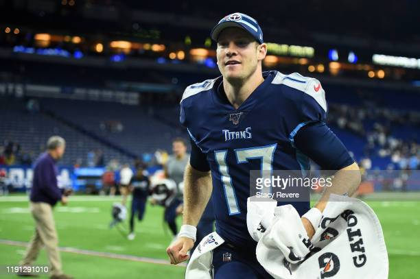 Ryan Tannehill of the Tennessee Titans leaves the field following a game against the Indianapolis Colts at Lucas Oil Stadium on December 01 2019 in...