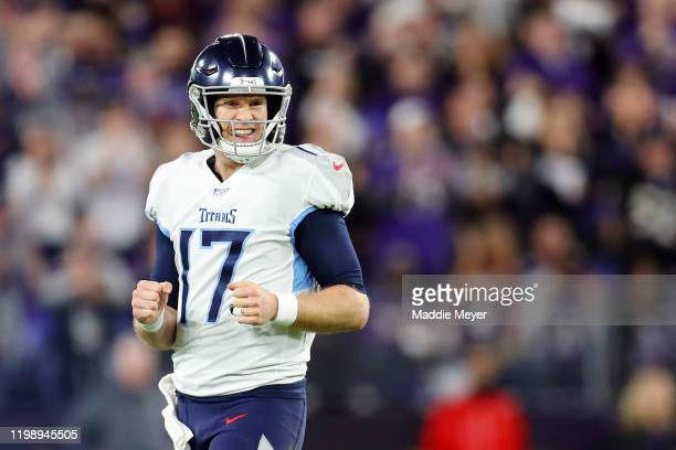 Ryan Tannehill of the Tennessee Titans reacts after an incomplete pass during the second quarter against the Baltimore Ravens in the AFC Divisional...