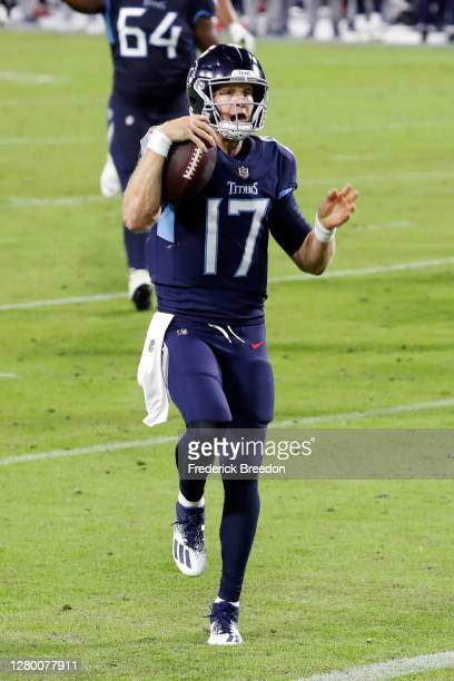 Ryan Tannehill of the Tennessee Titans scores a touchdown in the second quarter against the Buffalo Bills at Nissan Stadium on October 13, 2020 in...