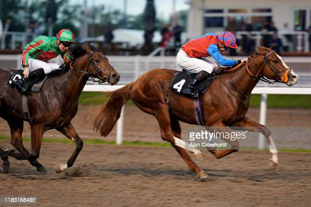Ryan Tate riding Animal Instinct wins The totepool Cashback Club At totesport.com EBF Novice Stakes at Chelmsford City Racecourse on October 24, 2019...
